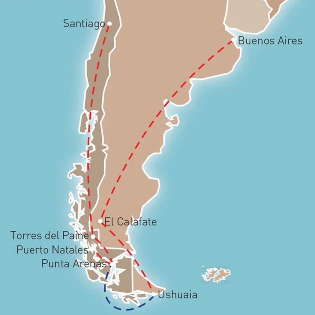 PATAGONIAN DELIGHTS TOUR map
